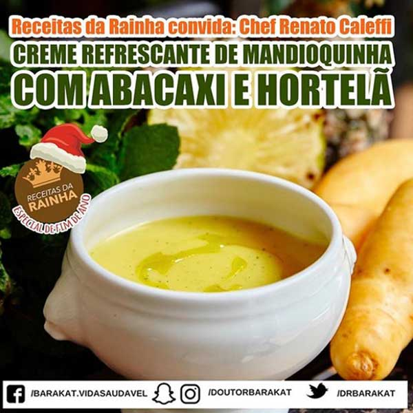 Creme refrescante de mandioquinha com abacaxi e hortelã