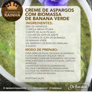 Creme de aspargos com biomassa de banana verde